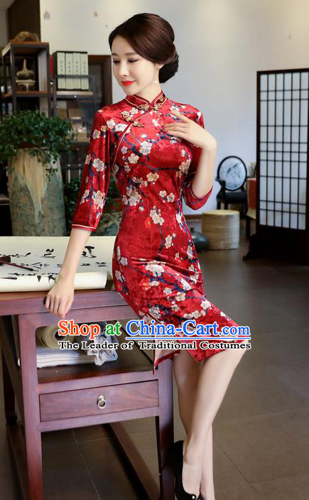 Chinese National Costume Handmade Printing Plum Blossom Red Velvet Qipao Dress Traditional Cheongsam for Women