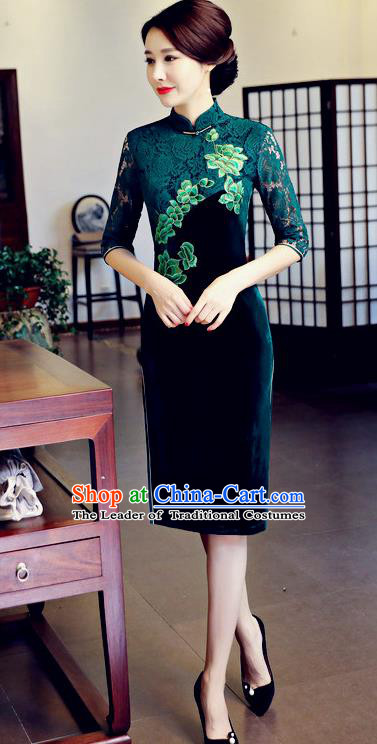 Chinese National Costume Handmade Embroidered Qipao Dress Traditional Green Lace Cheongsam for Women
