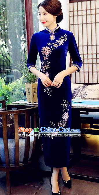 Top Grade Chinese Beading Embroidery Royalblue Qipao Dress National Costume Traditional Mandarin Cheongsam for Women
