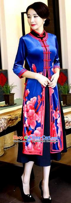 Chinese National Costume Handmade Qipao Dress Traditional Printing Royalblue Tang Suit Cheongsam for Women