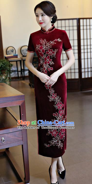 Chinese National Costume Handmade Qipao Dress Traditional Tang Suit Wine Red Velvet Cheongsam for Women