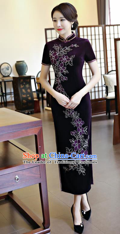 Chinese National Costume Handmade Qipao Dress Traditional Tang Suit Purple Velvet Cheongsam for Women