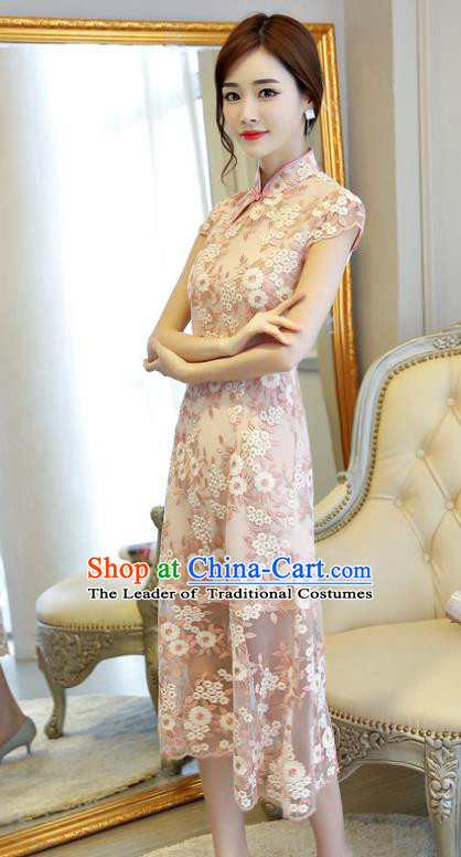 Chinese National Costume Handmade Qipao Dress Traditional Tang Suit Pink Embroidered Cheongsam for Women