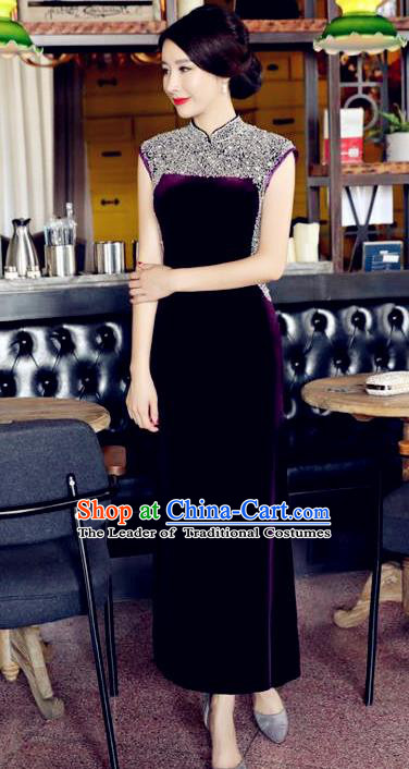 Chinese National Costume Handmade Qipao Dress Traditional Tang Suit Diamante Purple Velvet Cheongsam for Women