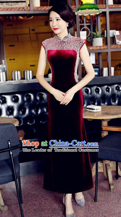 Chinese National Costume Handmade Qipao Dress Traditional Tang Suit Diamante Wine Red Velvet Cheongsam for Women