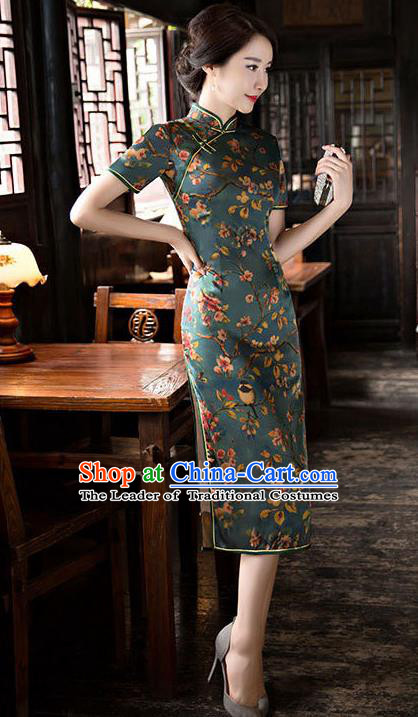 Chinese National Costume Handmade Tang Suit Qipao Dress Traditional Green Watered Gauze Cheongsam for Women
