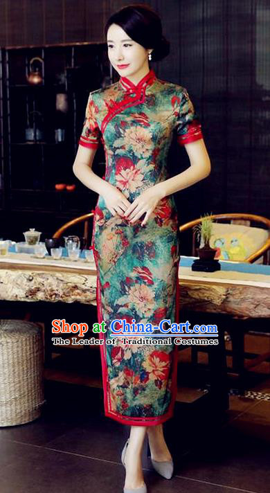 Chinese National Costume Handmade Tang Suit Qipao Dress Traditional Printing Green Cheongsam for Women