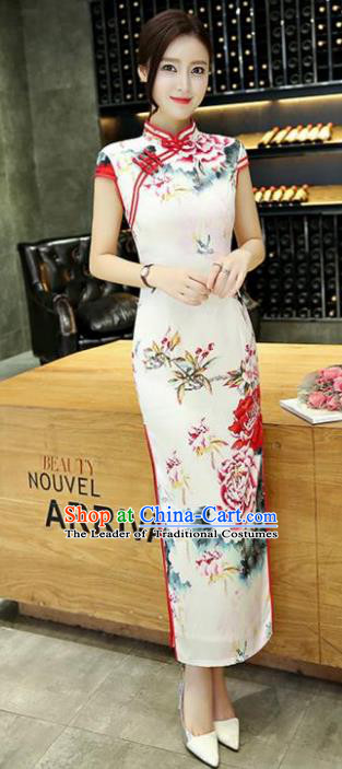 Chinese National Costume Handmade White Silk Tang Suit Qipao Dress Traditional Ink Painting Peony Cheongsam for Women