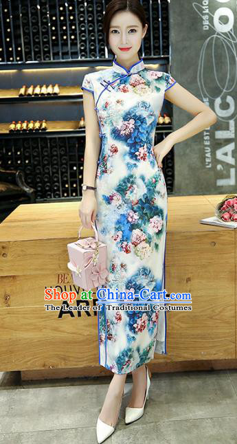Chinese National Costume Handmade Silk Tang Suit Qipao Dress Traditional Ink Painting Peony Blue Cheongsam for Women