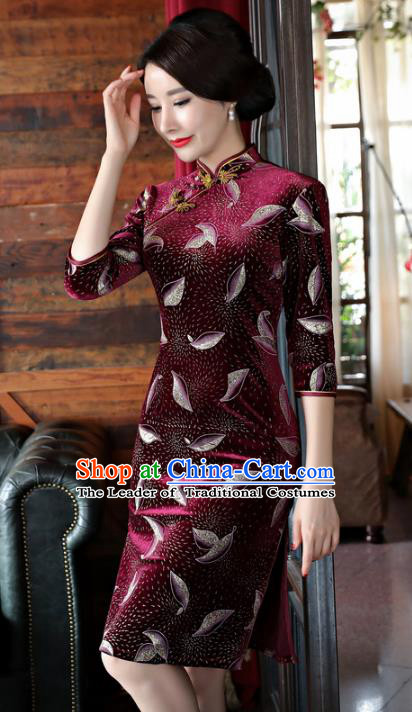 Chinese National Costume Handmade Qipao Dress Traditional Tang Suit Purplish Red Velvet Cheongsam for Women