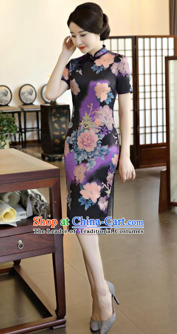 Chinese National Costume Tang Suit Qipao Dress Traditional Printing Purple Cheongsam for Women