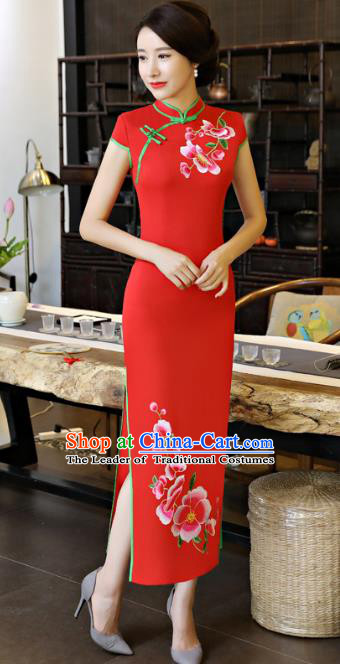 Chinese National Costume Tang Suit Qipao Dress Traditional Printing Peach Blossom Red Cheongsam for Women