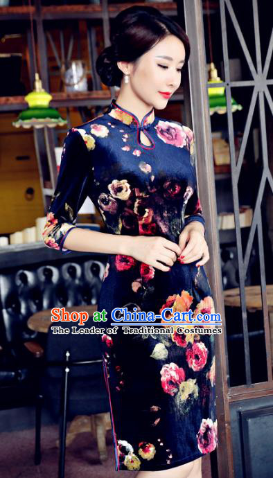 Chinese National Costume Handmade Qipao Dress Traditional Tang Suit Printing Velvet Cheongsam for Women