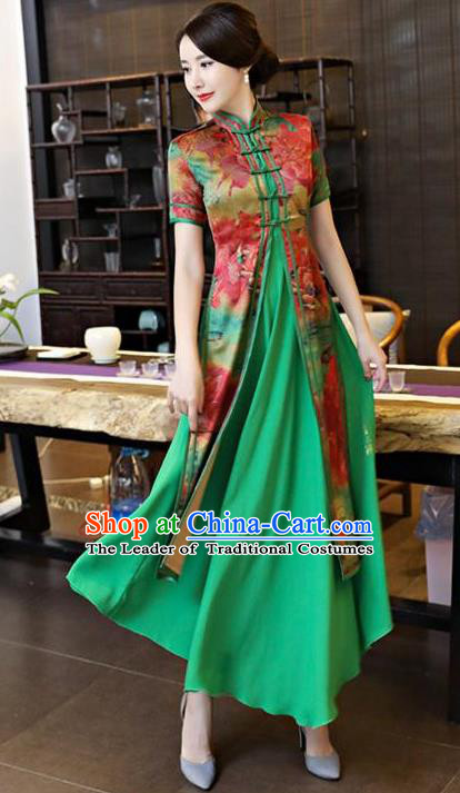 Chinese National Costume Tang Suit Silk Qipao Dress Traditional Printing Two-pieces Green Cheongsam for Women