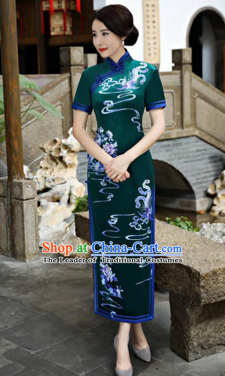 Chinese National Costume Tang Suit Silk Qipao Dress Traditional Printing Phoenix Green Cheongsam for Women