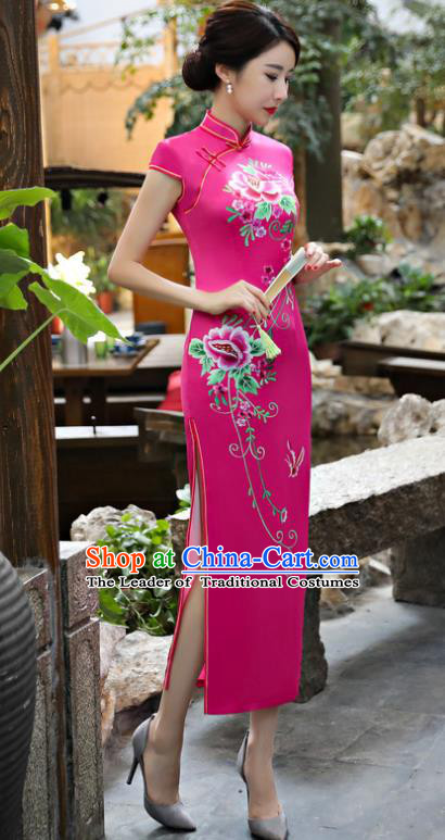 Chinese National Costume Tang Suit Silk Qipao Dress Traditional Printing Peony Rosy Cheongsam for Women
