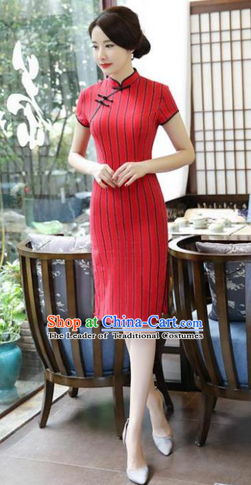 Chinese National Costume Tang Suit Qipao Dress Traditional Red Linen Cheongsam for Women