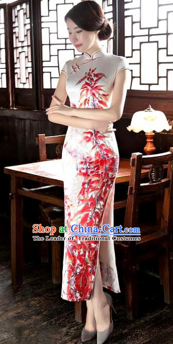 Chinese National Costume Tang Suit Qipao Dress Traditional Printing Maple Leaf White Cheongsam for Women