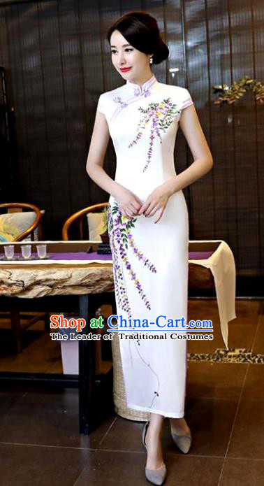 Chinese National Costume Tang Suit Qipao Dress Traditional Printing Wisteria White Cheongsam for Women