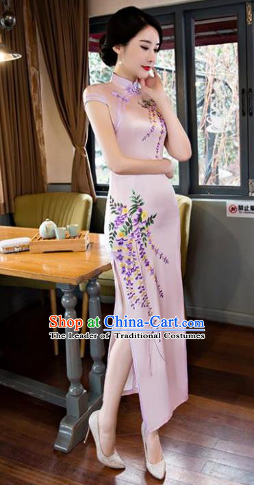 Chinese National Costume Tang Suit Qipao Dress Traditional Printing Wisteria Pink Cheongsam for Women