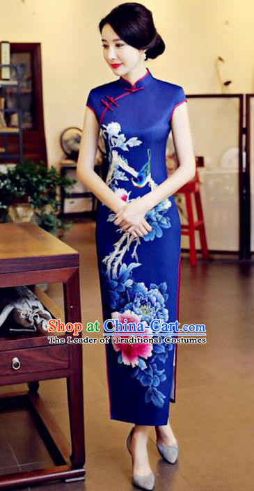 Chinese National Costume Tang Suit Qipao Dress Traditional Printing Peony Flowers Blue Cheongsam for Women