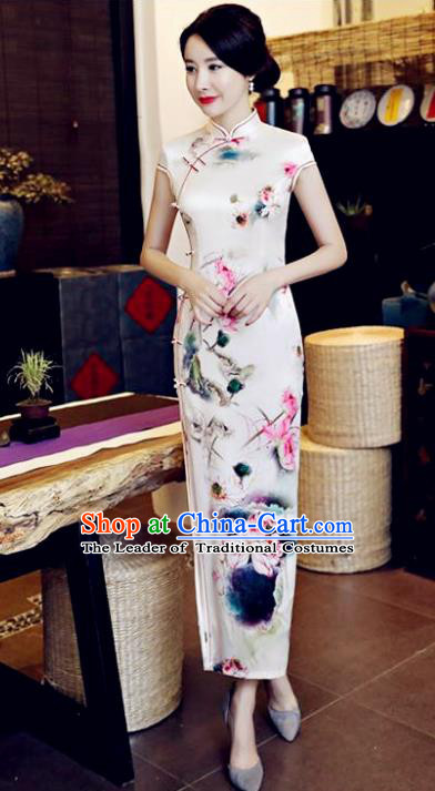Chinese National Costume Tang Suit Qipao Dress Traditional Printing Lotus Flower Cheongsam for Women
