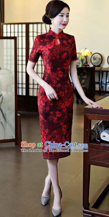 Chinese National Costume Tang Suit Qipao Dress Traditional Suede Fabric Cheongsam for Women