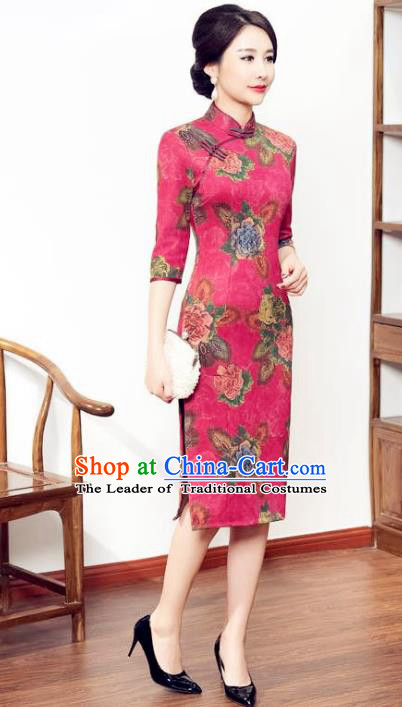 Chinese National Costume Tang Suit Qipao Dress Traditional Pink Suede Fabric Cheongsam for Women