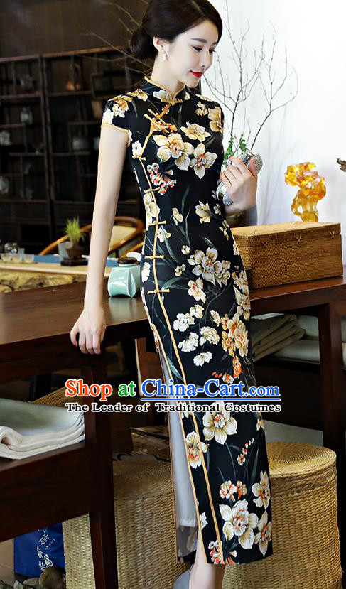 Chinese National Costume Tang Suit Qipao Dress Traditional Printing Flowers Black Cheongsam for Women