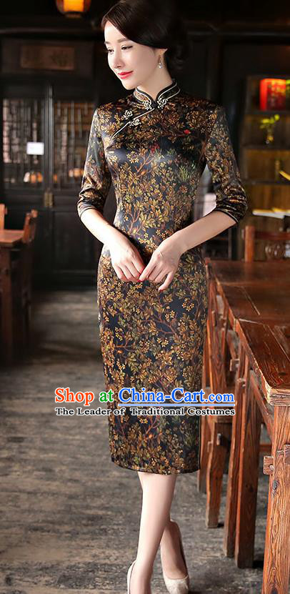 Chinese National Costume Tang Suit Retro Qipao Dress Traditional Printing Cheongsam for Women