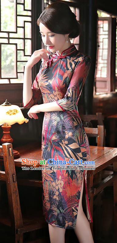 Chinese National Costume Tang Suit Retro Qipao Dress Traditional Printing Silk Cheongsam for Women