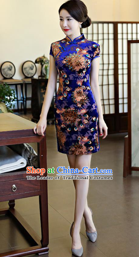 Chinese National Costume Tang Suit Retro Qipao Dress Traditional Printing Blue Cheongsam for Women