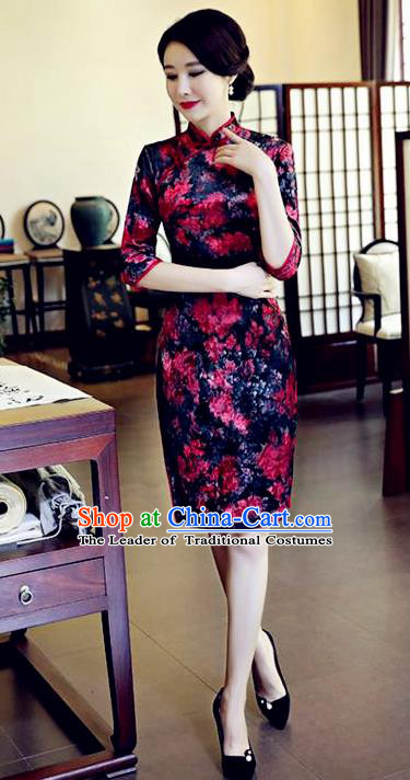 Chinese National Costume Handmade Navy Velvet Qipao Dress Traditional Tang Suit Printing Chrysanthemum Cheongsam for Women