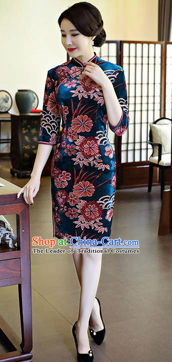 Chinese National Costume Handmade Peacock Blue Velvet Qipao Dress Traditional Tang Suit Printing Chrysanthemum Cheongsam for Women
