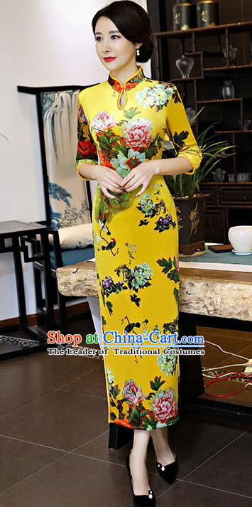 Chinese National Costume Handmade Yellow Qipao Dress Traditional Tang Suit Printing Silk Cheongsam for Women