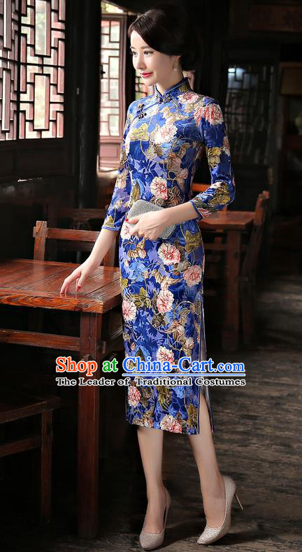 Chinese National Costume Handmade Blue Velvet Qipao Dress Traditional Tang Suit Printing Cheongsam for Women