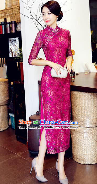Chinese National Costume Handmade Rosy Lace Qipao Dress Traditional Tang Suit Cheongsam for Women