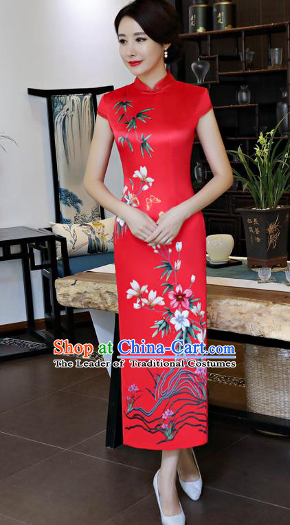 Chinese National Costume Handmade Red Silk Qipao Dress Traditional Tang Suit Printing Cheongsam for Women