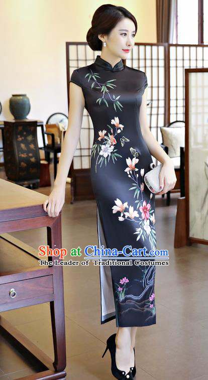Chinese National Costume Handmade Black Silk Qipao Dress Traditional Tang Suit Printing Cheongsam for Women
