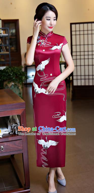 Chinese National Costume Handmade Wine Red Silk Qipao Dress Traditional Tang Suit Printing Crane Cheongsam for Women