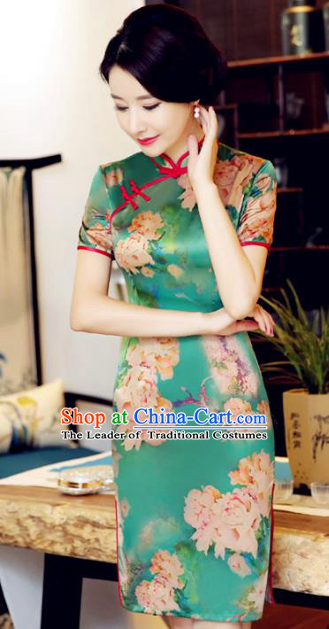 Chinese National Costume Handmade Printing Peony Qipao Dress Traditional Tang Suit Green Cheongsam for Women