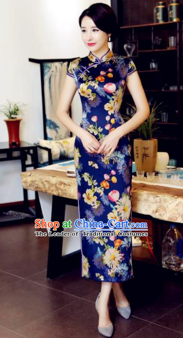 Chinese National Costume Handmade Printing Qipao Dress Traditional Tang Suit Blue Silk Cheongsam for Women