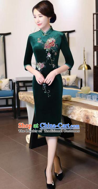 Chinese National Costume Handmade Green Velvet Qipao Dress Traditional Tang Suit Cheongsam for Women
