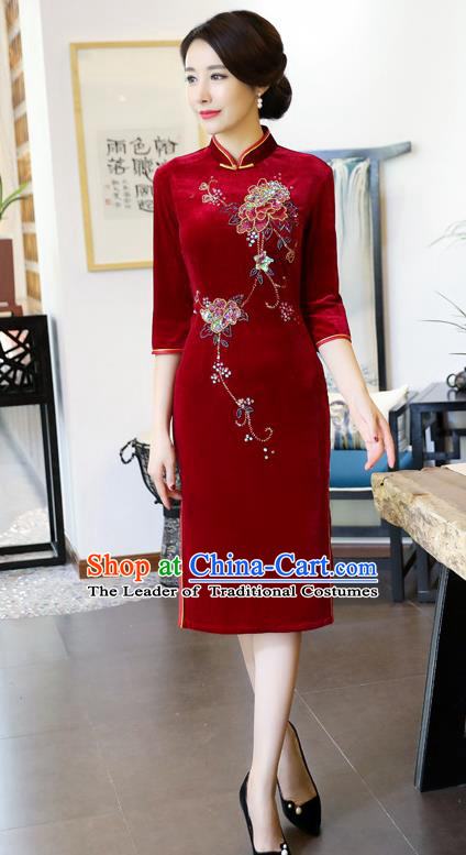 Chinese National Costume Handmade Red Velvet Qipao Dress Traditional Tang Suit Cheongsam for Women