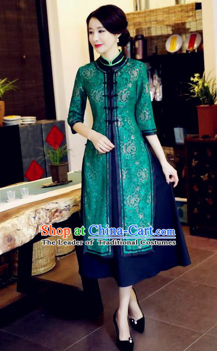 Chinese National Costume Handmade Green Qipao Dress Traditional Tang Suit Two-pieces Cheongsam for Women