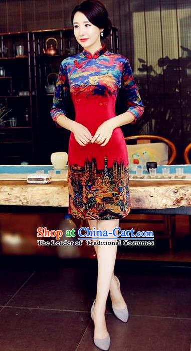 Chinese National Costume Handmade Tang Suit Red Qipao Dress Traditional Velvet Cheongsam for Women