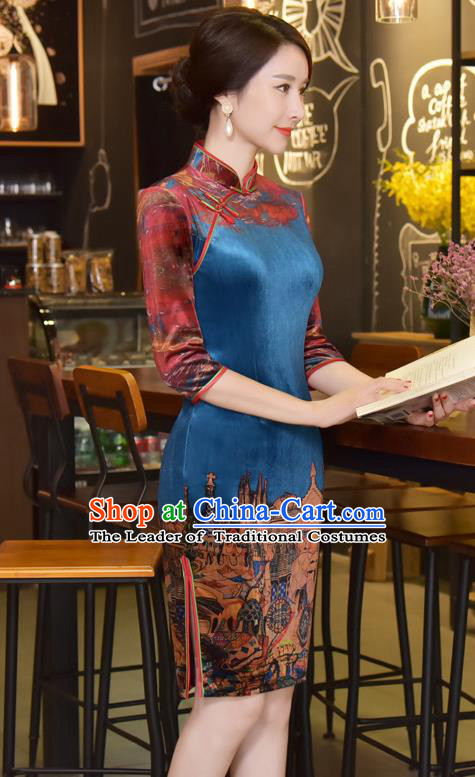 Chinese National Costume Handmade Tang Suit Blue Qipao Dress Traditional Velvet Cheongsam for Women