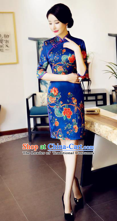 Chinese National Costume Handmade Tang Suit Blue Qipao Dress Traditional Printing Flowers Cheongsam for Women