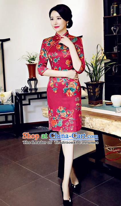 Chinese National Costume Handmade Tang Suit Wine Red Qipao Dress Traditional Printing Flowers Cheongsam for Women