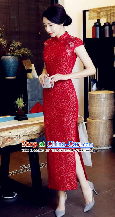 Chinese National Costume Handmade Tang Suit Red Qipao Dress Traditional Long Cheongsam for Women